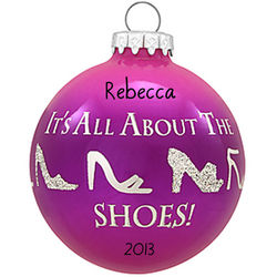 Personalized All About Shoes Glass Ornament