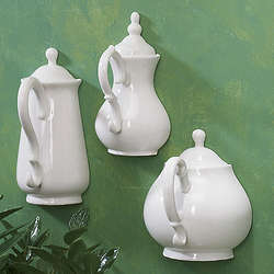 Porcelain Teapot Set Wall Hanging