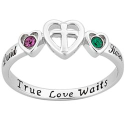Personalized Sterling Silver Birthstone and Name Purity Ring