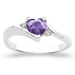 Sterling Silver Birthstone Heart Ring with CZ Accent