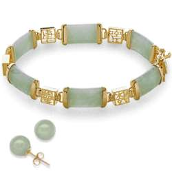 Jade Bracelet with Chinese Characters and Clip-On Earrings