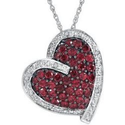 Ruby and Diamond Heart Pendant in Sterling Silver