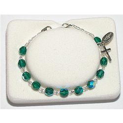 Children's May Birthstone Rosary Bracelet