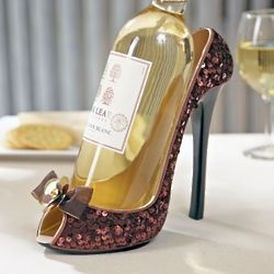 Cocoa Sequin High Heel Wine Holder