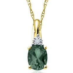 Simulated Oval Emerald Necklace with Diamond Accent in Gold
