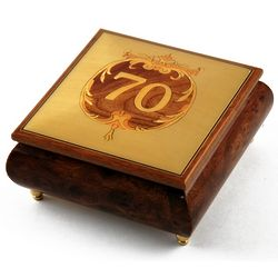 Handcrafted 22 Note Happy 70th Musical Jewelry Box