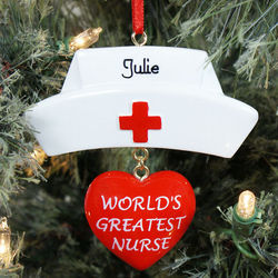 World's Greatest Nurse Personalized Hat Ornament
