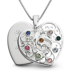 Engraved Silver Eight Birthstone Family Necklace