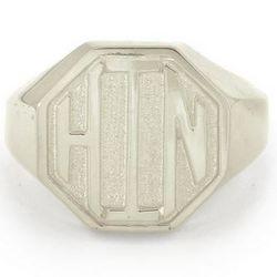 Sterling Silver Block Monogram Octagon Signet Ring