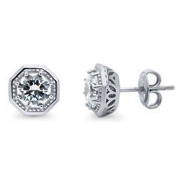 Sterling Silver Art Deco Milgrain Stud Earrings Set with Swarovsi