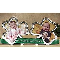 Irish Eyes Double Shamrock Photo Frame