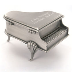 Personalized Pewter Brushed Footed Baby Grand Piano Jewelry Box