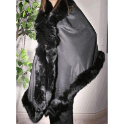Pashmina Shawl with Fur Trim