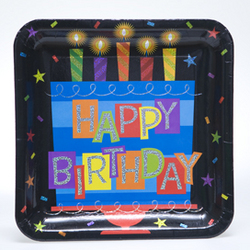 "10"" Square Happy Birthday Plates"