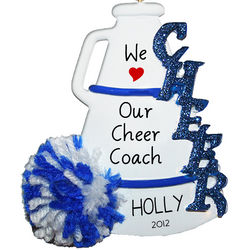 We Love Our Cheer Coach Megaphone Ornament in Blue