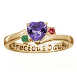 14K Gold Over Sterling Daughter's Heart Birthstone Ring