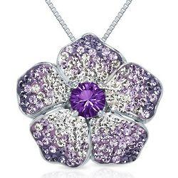 Round Violet Swarovski Crystal Flower Pendant in Sterling Silver
