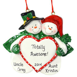 Personalized Aunt and Uncle Snow Couple Ornament