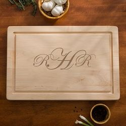 Personalized Maple Cutting Board with Raised Monogram