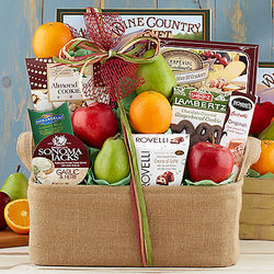 Wine Country Fruit and Favorites Gift Basket