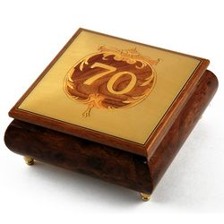 Handcrafted 30 Note Happy 70th Musical Jewelry Box