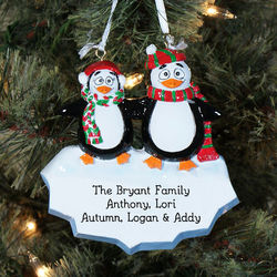 Penguin Family Engraved Christmas Ornament