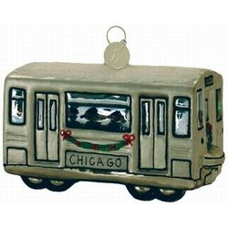 Chicago Subway Train Car Blown Glass Christmas Ornament