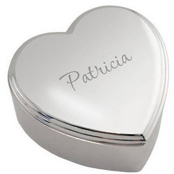 Personalized Silver Modern Heart Box