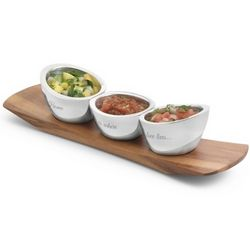 Personalized Trio of Condiment Bowls on Acacia Wood Plank