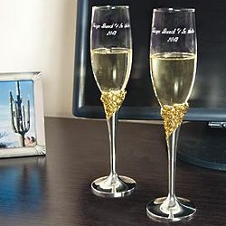 Personalized Marchesa Executive Rosa Toasting Flutes