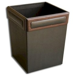 Leather and Walnut Waste Basket
