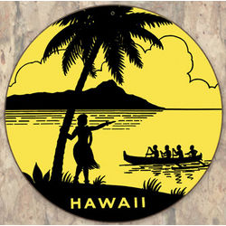 Hawaii Round Metal Sign
