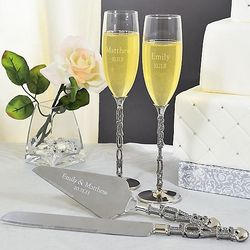 Bride & Groom Love Champagne Flutes & Cake Server Set