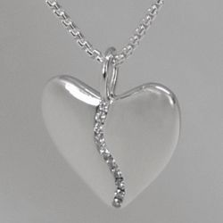 Small Silver Harmony Heart with Diamond Center