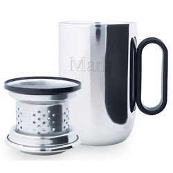 Personalized Silver Desk Mug with Strainer