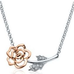Diamond Flower Necklace in Sterling Silver and 14K Gold