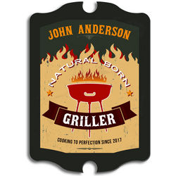 Natural Born Griller Personalized Sign