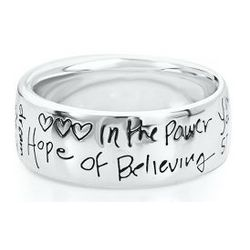 Sterling Silver Sentiments Believe Ring