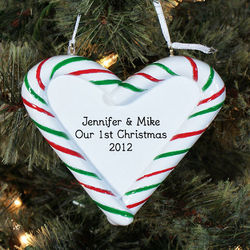 Our First Christmas Engraved Candy Cane Heart Ornament