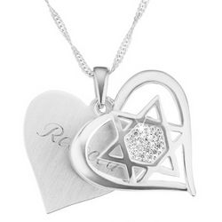 Star of David Heart Necklace