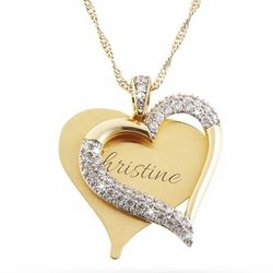 Gold Brushed CZ Heart Necklace