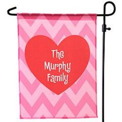 Personalized Chevron Heart Garden Flag and Stake