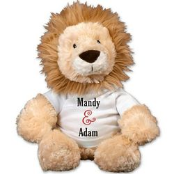 Personalized Stuffed Lion with Couples Shirt