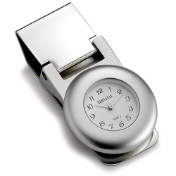 Personalized Round Polished Money Clip with Clock