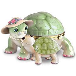 """Grandma's Little Sweetheart"" Porcelain Turtle Music Box"