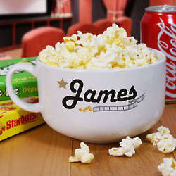 Personalized Ceramic Movie Night Popcorn Bowl