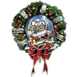 Thomas Kinkade Let It Snow Decorated Holiday Wreath