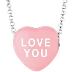 Love You Pink Sweethearts Necklace in Sterling Silver