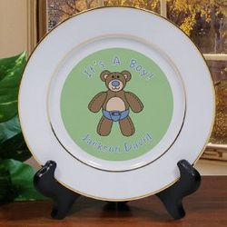 It's A Boy Personalized Birth Announcement Ceramic Plate