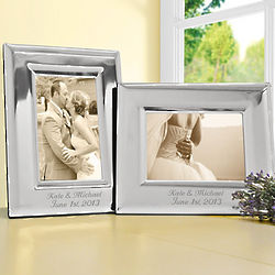 Vertical Personalized Elegant Silver Picture Frame
